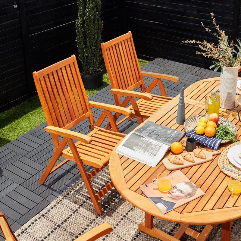 Drewniane meble ogrodowe zestaw st 6 krzese ogr d - Table de terrasse restaurant ...