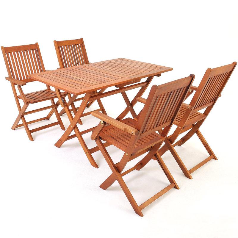 Meble drewniane ogrodowe zestaw 1 st 4 krzes a ogr d - Table de salon pliable ...