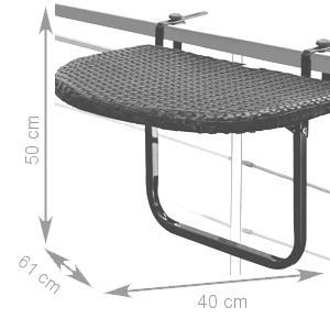 Stół Stolik Balkonowy Podwieszany Składany Rattan