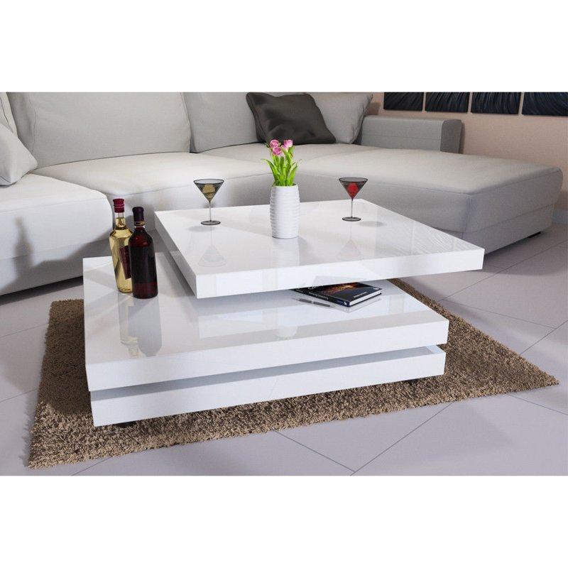 ława Obrotowa Stolik Kawowy Do Salonu Biały 60x60