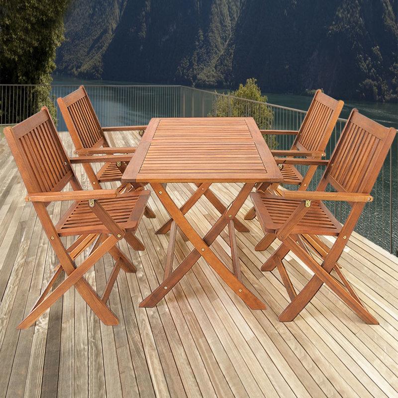 Meble drewniane ogrodowe zestaw 1 st 4 krzes a ogr d for Table 4 en 1 intersport