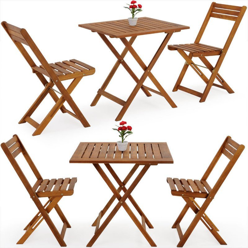 Meble ogrodowe st 2 krzes a drewniane sk adane ogr d - Table ronde de balcon ...