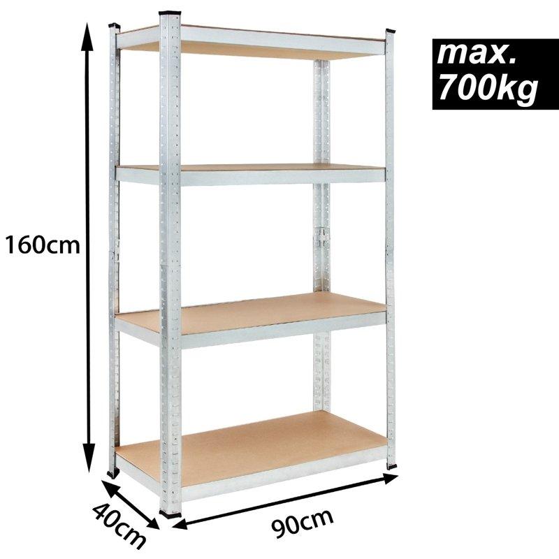 Metalowy Regał Szafka Do Garażu 4 Półki 160x90x40